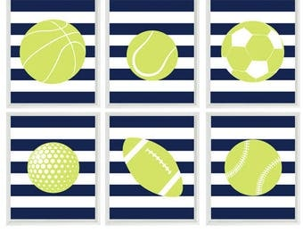 Sports Wall Art, Sports Nursery, Toddler Room, Boy Room, Navy Blue Lime Green Decor, Stripes, Sports Balls, Basketball, Football, Baseball