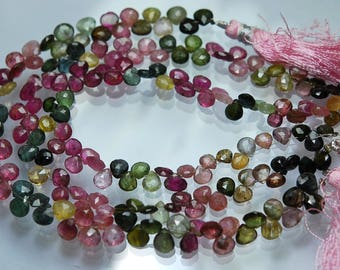 8 Inch strand Super-FINEST,Multi Tourmaline Faceted Heart Briolettes 5-6mm
