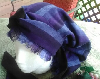 Blues of the Sea Rayon with Linen Tichel  Head Cover with Long Two Toned Wrap Ties
