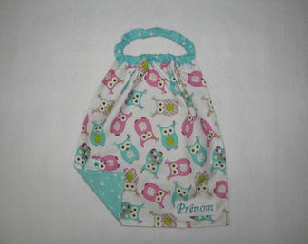 Towel, bib, printed back to school kids pink and blue owls