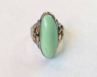 vintage Clark And Coombs sterling and 10k gold fill green stone ring, size 4.75