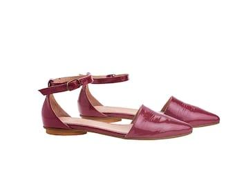 Pink leather sandals, Olivia, flat buckled sandals