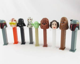 Nine (9) PEZ 'Star Wars' Dispensers - Fun and Collectible  - Princess Leia and More - Some From Romania and Hungary  - Collectible Empty PEZ