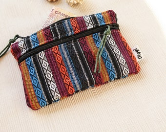 Peruvian Mens Wallet, Small Woman Coin Purse, Aguayo Vegan Pouch