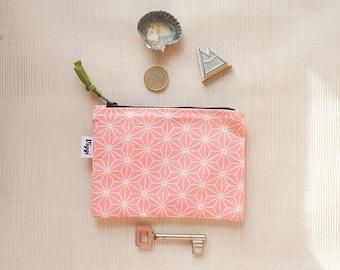 Pink Small Wallet, Vegan Card Holder, Coin Purse Diamonds, Travel Mini Zipper Pouch