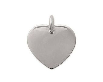 1 pendant heart 20 mm stainless steel slightly curved with or without engraving