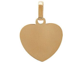 Pendant engraved heart plated gold 22 x 20 mm