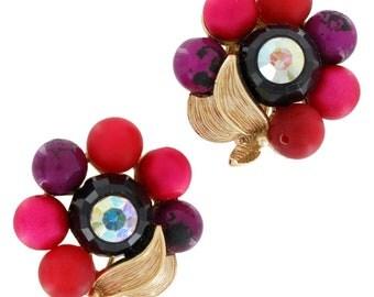 Vintage Cluster Brown Red Pink Ab West German Leaf Clip On Earrings 1950s