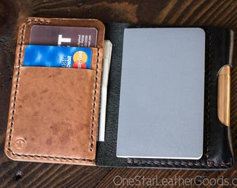 "Notebook wallet and pen ""Park Sloper Junior"" for Fisher Space Pen or Kaweco Liliput - Black chromexcel/natural dublin"
