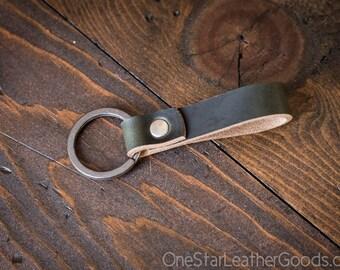 Key fob & keyring, keychain, Horween Chromexcel - forest/gunmetal