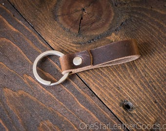 Key fob & keyring, keychain, Horween Dublin - brown/silver