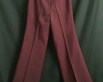 Vintage 1970's High Waisted Plum Polyester Bell Bottoms