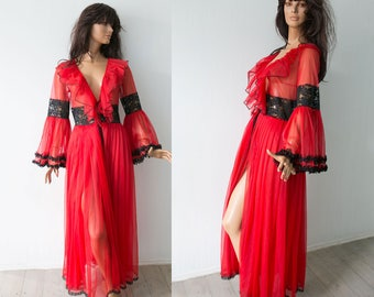 Vintage 70s  red black sensual carmen bell sleeve sheer  Peignoir Robe /  red nylon lace pleated cover up robe/house gown/S