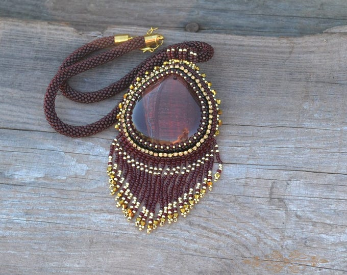 Imperial necklace Large Beaded Stone Necklace Stone effect catseye Red gold Fringe necklace Beadwork necklace Seed beads Tube mineral