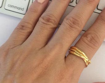 Gold Trinity Ring, Dainty Rings, Thin Rings, Gold Rings