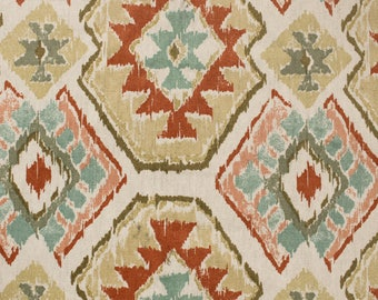"Off White Aztec Multi Colored Printed Pattern on 45"" Cotton Canvas Fabric by the Yard - Style 3244"