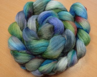 Fantasy  - Merino roving in grey, blue, green, purple and pink