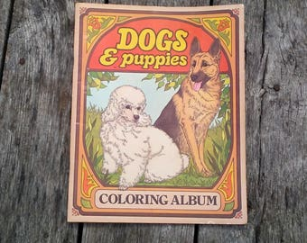 Vintage Adult Color Dogs and Puppies 1977 Troubador Press Dog Coloring Album Illustrated by Rita Warner 16 Pages Front and Back Color Pages