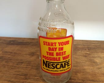 Vintage '80's Unigate milk bottle Nescafe