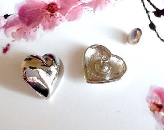 """Set of 10 """"hearts"""" rivets domed silver 16x15mm"""