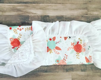 Sale • BABY GIRL'S LOVEY • Shabby Chic • Lovey Blanket • Floral • Baby Shower Gift • Burp Cloths • Baby • Blanket • Ruffle • Mint Coral Gold