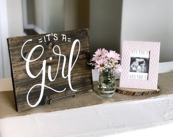 It's a Girl | Photo Prop | Guestbook Alternative | Gender Reveal | Wood Sign | Baby Decor