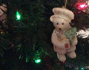 Vintage Christmas Ornament Teddy Bear Porcelain