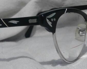 Vintage Eyeglasses Cat Eye Frames Black Eye Wear Rockabilly 1950s Leaf Detailed Silver White Leaves Arms and Front True Vintage