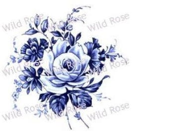 VinTaGe DuTcH BLuE DeLFT RoSeS & SWaGs ShaBby DeCALs