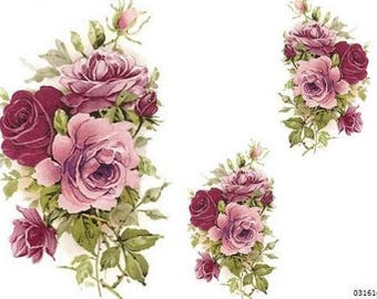 VinTaGe XL SHaBbY PinK TeA RoSeS WaTerSLiDe DeCALs ~FurNiTuRe Size~