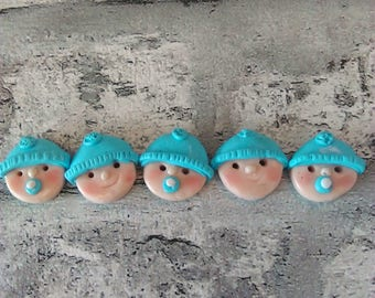Button baby faces, handmade polymer clay buttons, handmade buttons