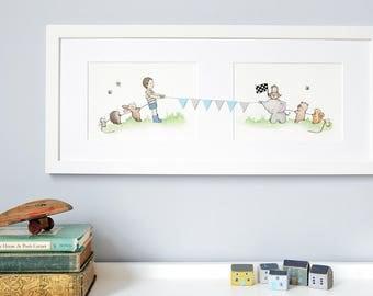 FRAMED Boy's Nursery Art, Watercolour Print, Pastel, Whimsical, Boy's Illustration, New Baby, Animals, Landscape Art, Framed, Long Picture