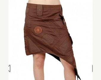 ON SALE Asymmetrical Mad Max skirt, brown tribal alternative skirt, sharped pixie futuristic skirt, point festival trance skirt, Burning man