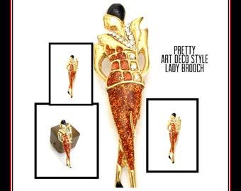 Art Deco Style Lady Brooch, Stylized High Fashion Art Deco Lady, Gold Tone Metal Rhinestones, Coral & Black Enamel Details, Vintage Figural