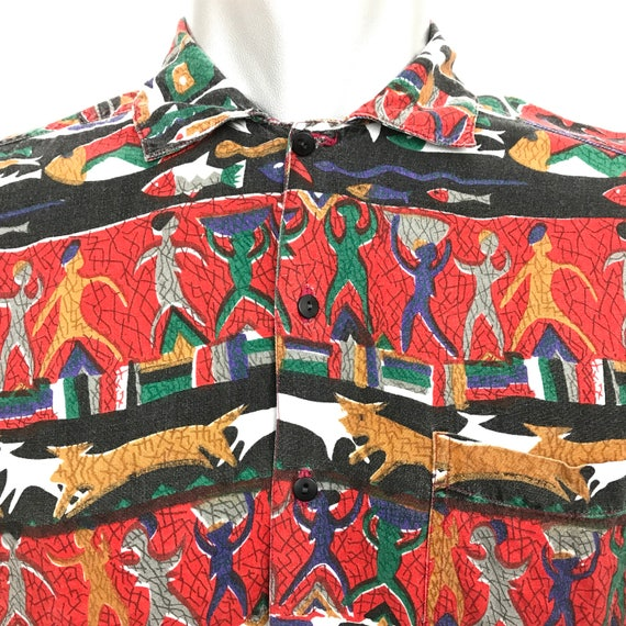 Vintage shirt 1980s African Batik style print cotton hawaiian shirt size Medium summer holiday 80s nu wave novelty print