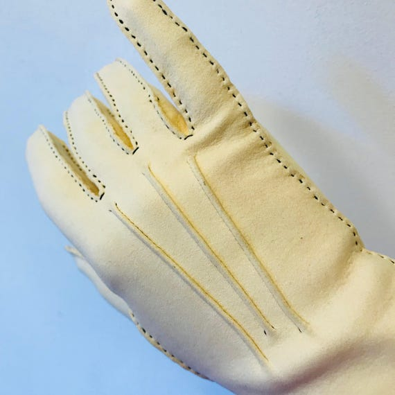 1940s gloves cream chamy leather butter stitching handmade 40s original accesories size 7