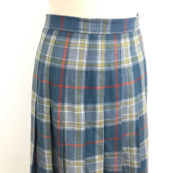 Vintage tartan skirt plaid pleated skirt classic twin peaks pin up UK 10 12 high waisted sexy secretary 1940s style blue 30s 40s pitlochry