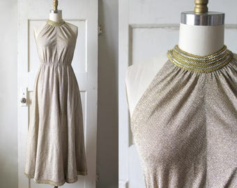 Vintage 1970s Gold and Silver Lurex Dress / 70s Metallic Studded Grecian Gown / Venus Dress