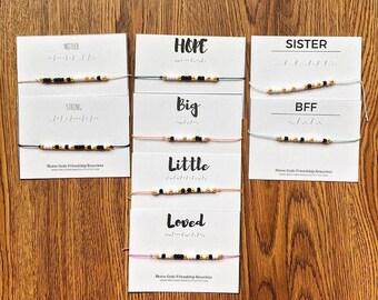 CUSTOM Morse Code Bracelets - Choose Your Phrase