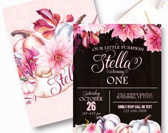 Girl Pumpkin First Birthday Invitations, Pink Pumpkin Birthday Invitations, Fall Birthday Invite, Any Age Fall Invite