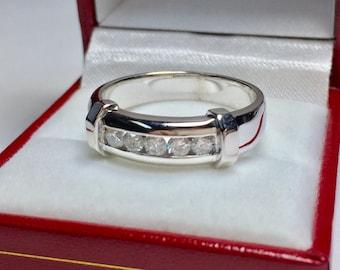 Vintage 1970's 0.50CT Men's Diamond Ring l 14KT White Gold Diamond Ring l Statement Ring