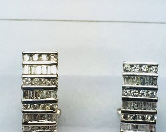 Vintage Hoop Diamond Earrings l 14KT White Gold Diamond Earrings l Omega Post Back Earrings,Huggies