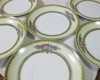 Japanese Porcelain Saucers, Noritake Nirvana Saucers, Japan, Bone China Tea Saucers, set of 6