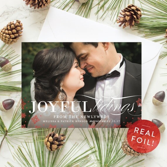 Foil Stamp Holiday Cards, Newlywed Card with Rose Gold Foil, First Christmas Photo Card, Real Foil Pressed Snowflakes | Joyful Tidings