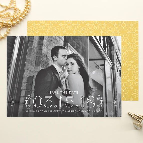 Photo Save the Date, Art Deco Theme Weddings, Elegant Save the Date Cards Engagement Announcement, Formal Wedding Save the Date | Posh