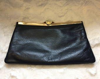 1980's Dark Blue Leather Clutch