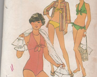 Simplicity 8028 Vintage Pattern Womens Bikini Bathingsuit, One Piece Bathing Suit and Beach Cover Size 10
