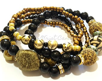 Olive, Gold, Black,Bronze Beaded Bracelet Set,OOAK, Stack, Boho, Minimalist, Stretchy, Womens Jewelry, Custom Handmade Beaded Jewelry