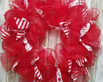 Red candy cane wreath