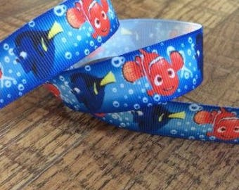 5 yards 7/8 nemo ribbon. finding nemo ribbon, finding dory ribbon, nemo hairbows, nemo grosgrain ribbon, craft, crafting, disney ribbon